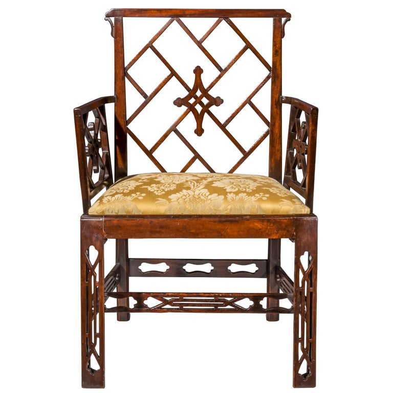 18th Century Chinese Chippendale Cockpen Armchair Desk Chair For Sale