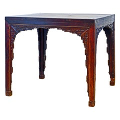 18th Century Chinese Eight Immortals Table with Carved Apron and Legs