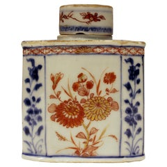 18th Century Chinese Export Blue White and Red Painted Tea Caddy