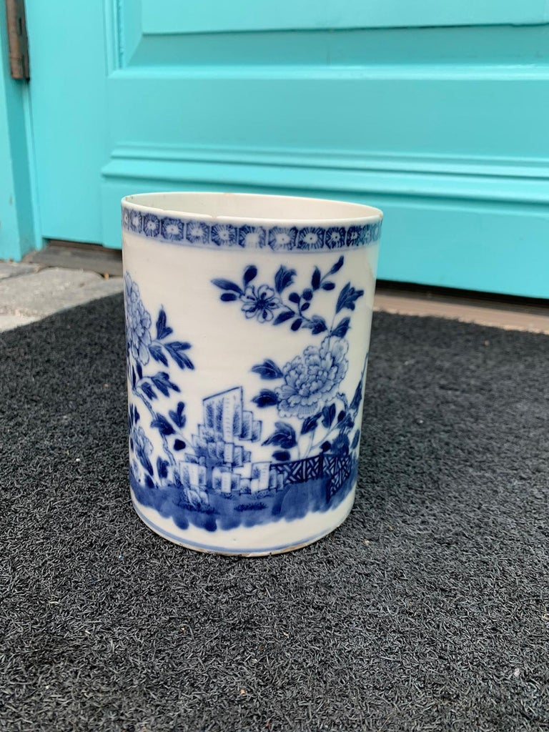 18th Century and Earlier 18th Century Chinese Export Blue and White Porcelain Mug For Sale