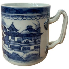 18th Century Chinese Export Canton Ware Blue and White Porcelain Mug, Unmarked
