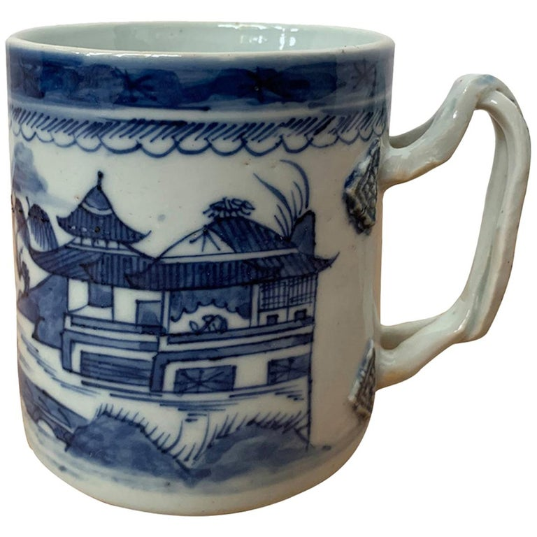 18th Century Chinese Export Canton Ware Blue and White Porcelain Mug, Unmarked For Sale