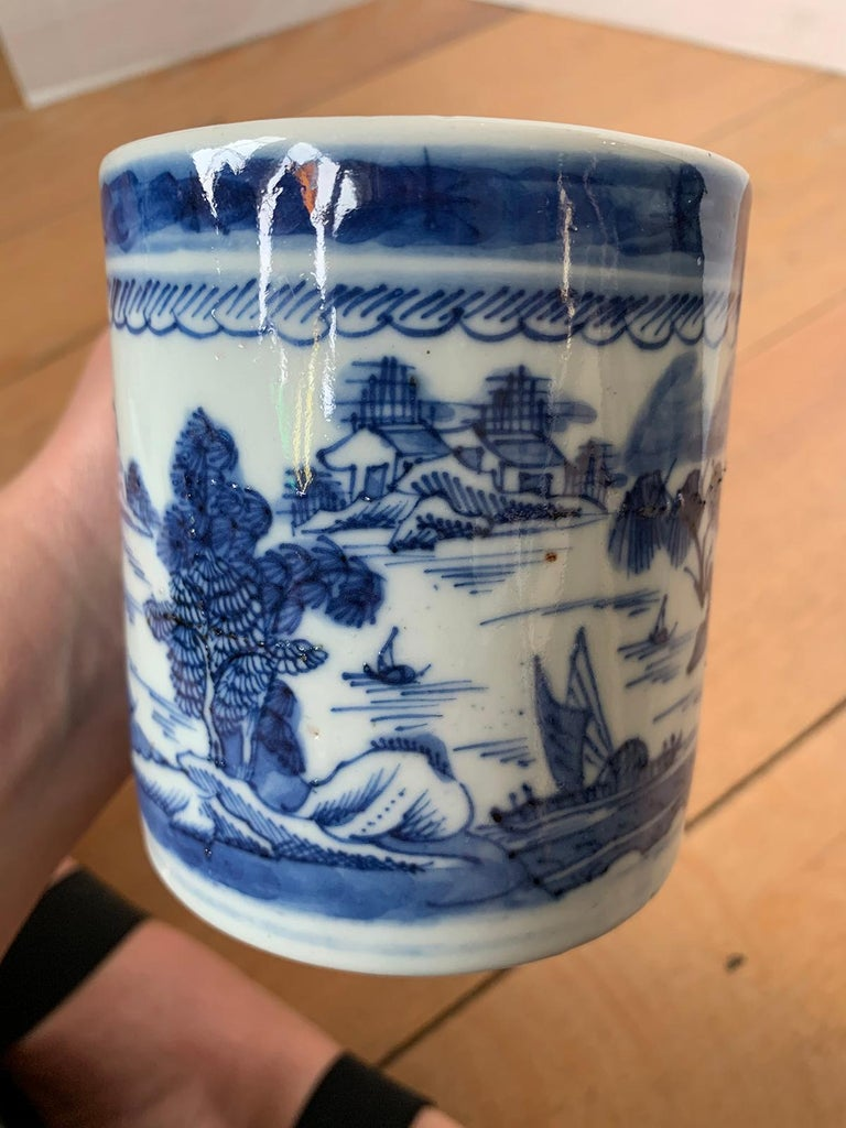 18th Century Chinese Export Canton Ware Blue and White Porcelain Mug, Unmarked For Sale 6