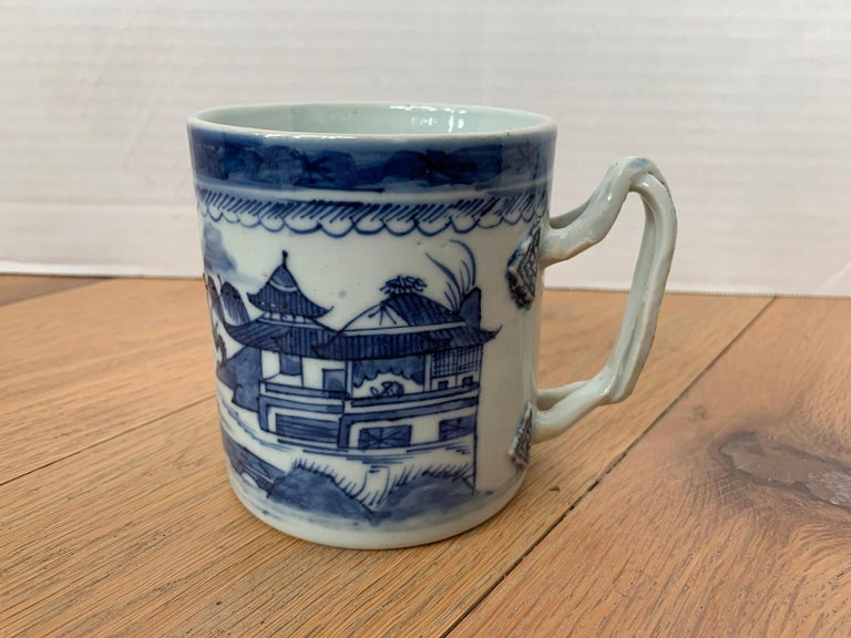 18th century Chinese export canton ware blue and white porcelain mug, unmarked.