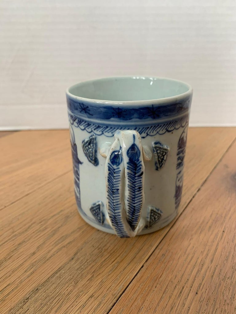 18th Century Chinese Export Canton Ware Blue and White Porcelain Mug, Unmarked For Sale 4