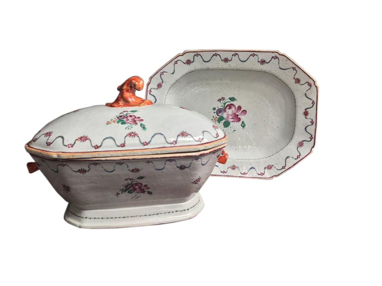 Glazed 18th Century, Chinese Export Tureen, Cover and Matching Stand For Sale