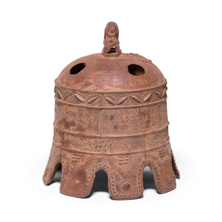 Cast 17th Century Chinese Grand Wanli Iron Bell For Sale