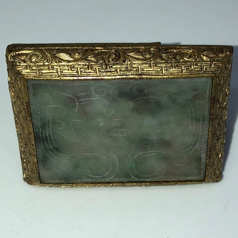 18th Century Chinese Jade and Fire Gilded Bronze Belt Buckle For Sale 9