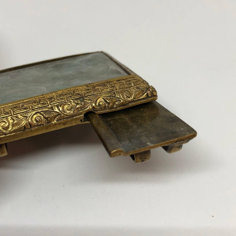 18th century Chinese jade and fire gilded bronze belt buckle.