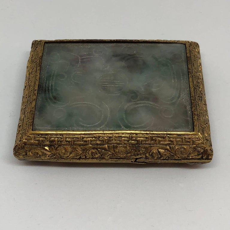 18th Century Chinese Jade and Fire Gilded Bronze Belt Buckle In Excellent Condition For Sale In Haddonfield, NJ