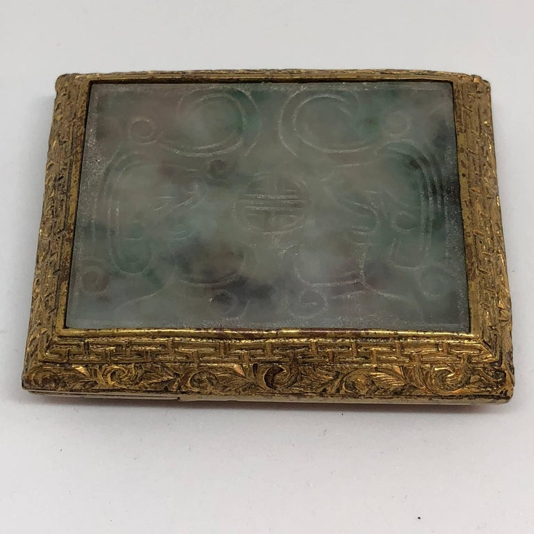 18th Century Chinese Jade and Fire Gilded Bronze Belt Buckle For Sale 2
