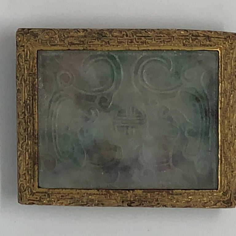 18th Century Chinese Jade and Fire Gilded Bronze Belt Buckle For Sale 4