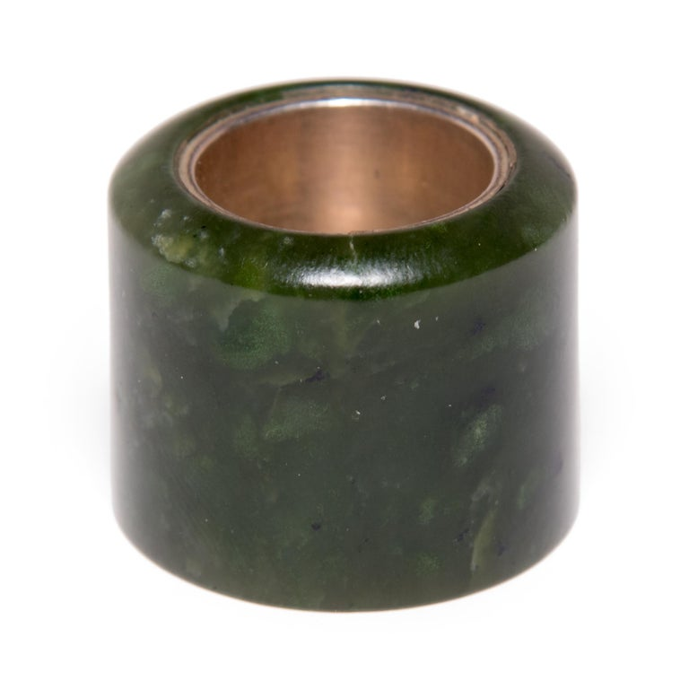 Qing 18th Century Chinese Jade Archer's Ring For Sale