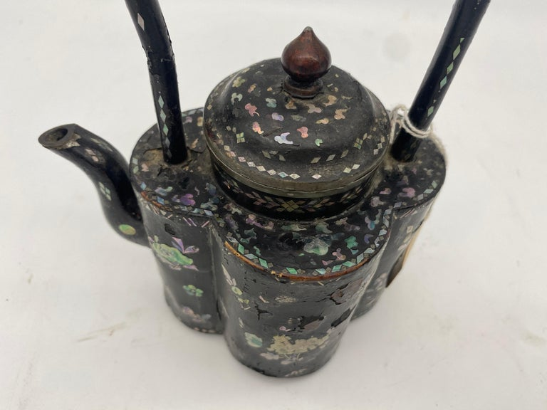 18th Century Chinese Lacquer Mother of Pearl Inlay Pewter Teapot For Sale 9