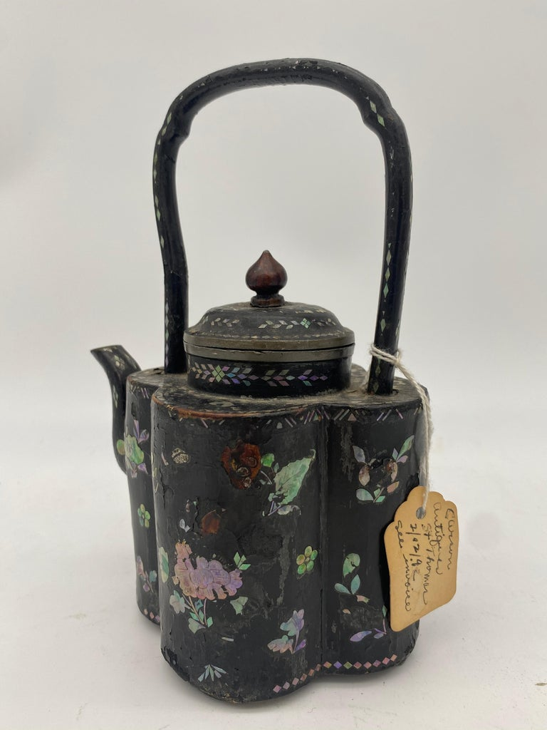 Chinoiserie 18th Century Chinese Lacquer Mother of Pearl Inlay Pewter Teapot For Sale