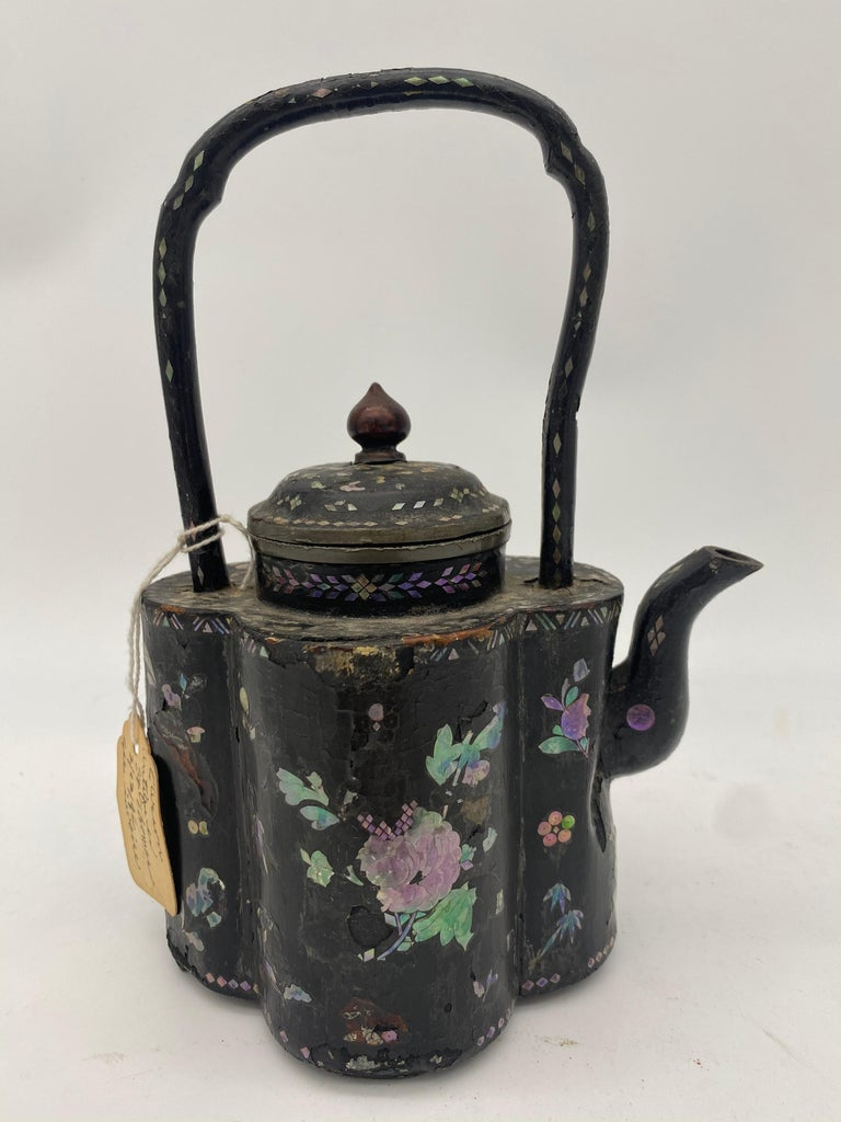 Mother-of-Pearl 18th Century Chinese Lacquer Mother of Pearl Inlay Pewter Teapot For Sale