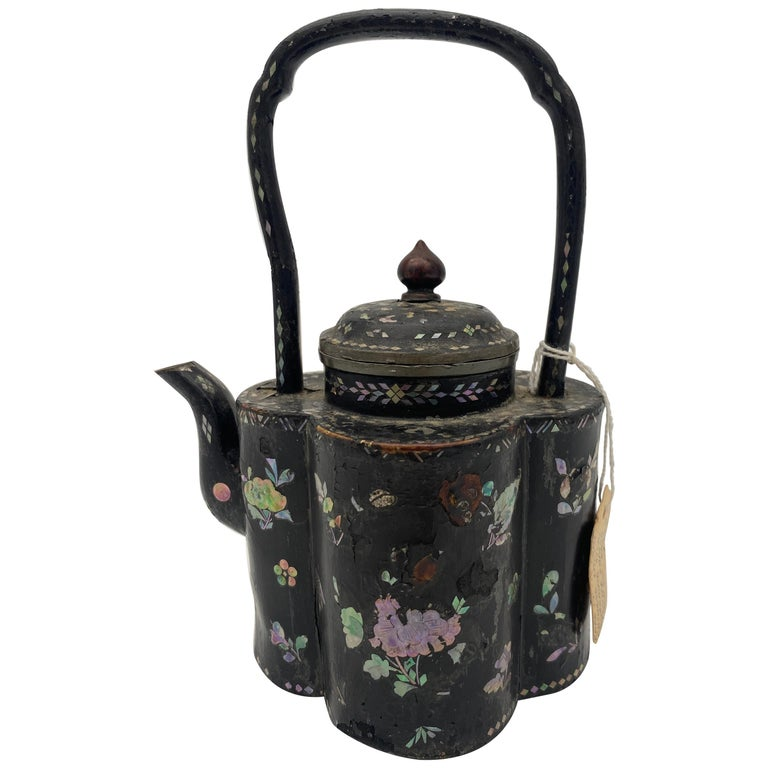 18th Century Chinese Lacquer Mother of Pearl Inlay Pewter Teapot For Sale