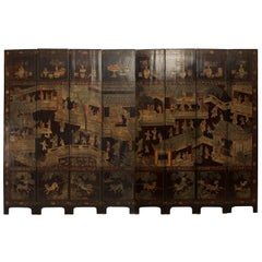 18th Century Chinese Painted Eight-Panel Coromandel Screen with Genre Scenes
