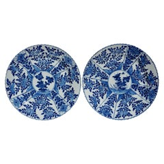 18th Century Chinese Porcelain Blue and White Plates '2' Qing, Ca 1780