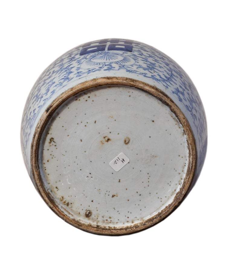 Qing 18th Century Chinese Porcelain Blue and White Shuang-xi Jar For Sale
