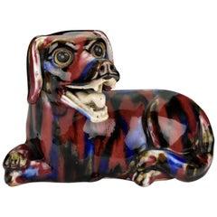 18th Century Chinese Porcelain Foo Dog Figurine with Flambe Glaze