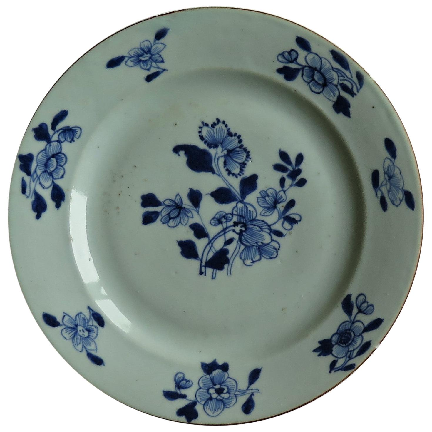18th Century Chinese Porcelain Plate Blue & White Hand Painted, Qing, circa 1780