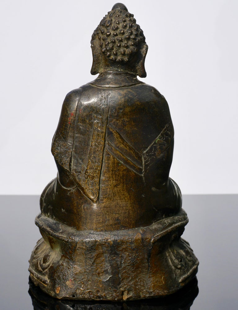 18th Century Chinese Qing Bronze Buddha Statue In Fair Condition For Sale In Dallas, TX