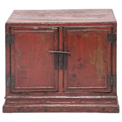 Chinese Red Lacquer Book Cabinet, c. 1700