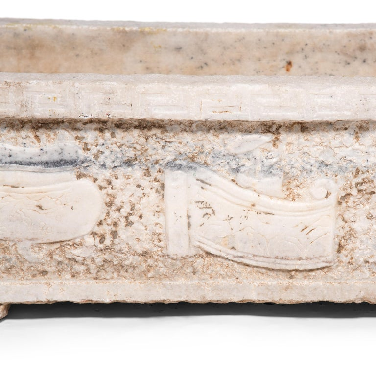 Qing 18th Century Chinese Shan Shui Marble Trough For Sale