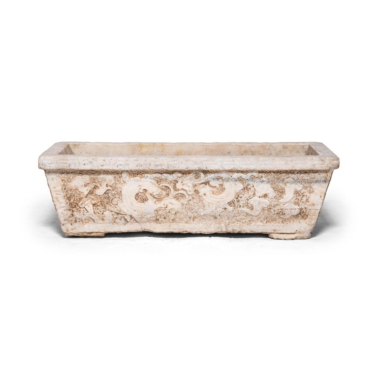18th Century Chinese Shan Shui Marble Trough In Good Condition For Sale In Chicago, IL