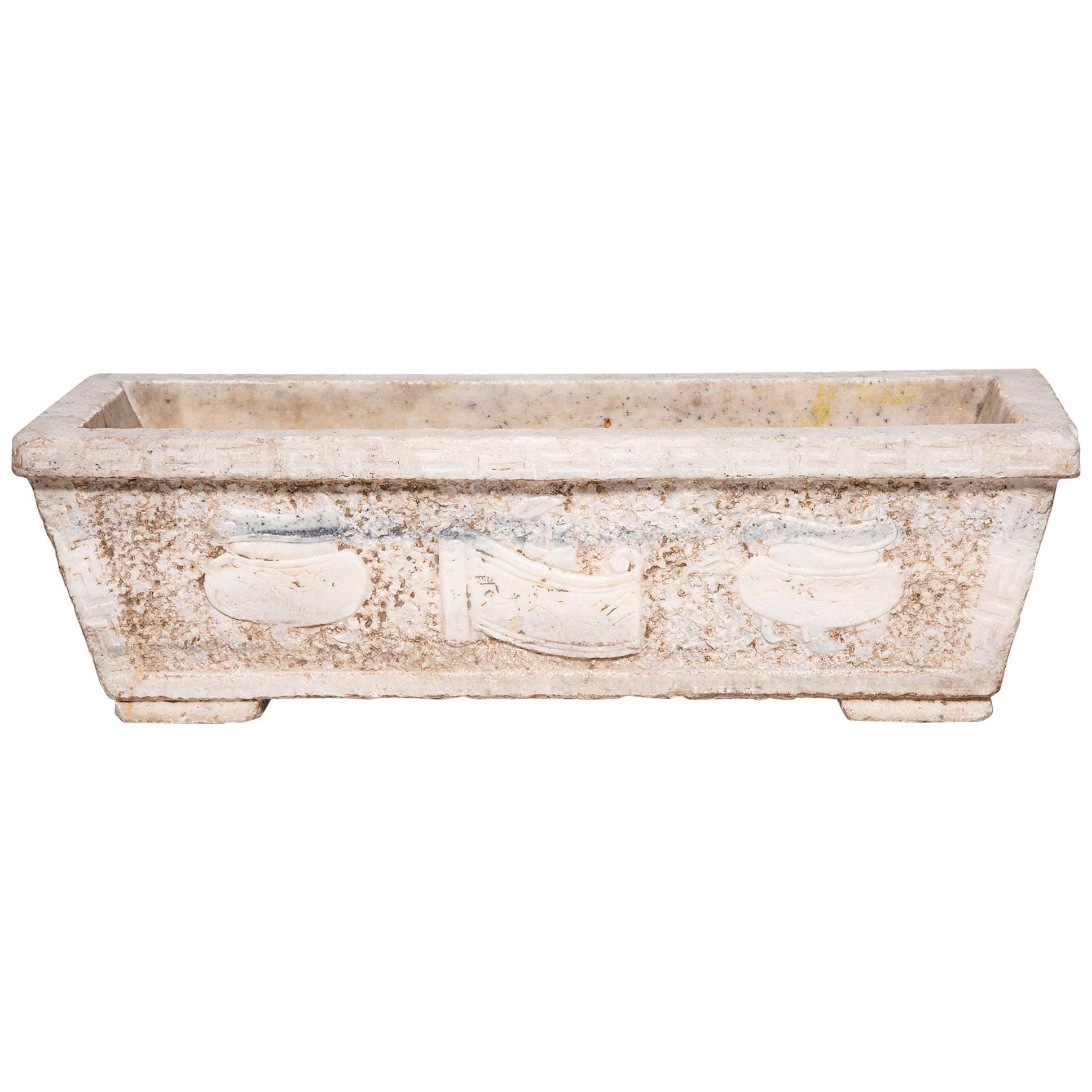 18th Century Chinese Shan Shui Marble Trough