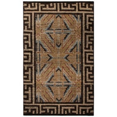 18th Century Chinese Style Rug in Beige Brown Geometric Pattern by Rug & Kilim