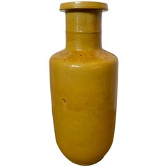 18th Century Chinese Yellow Rouleau Form Pottery Vase, Unmarked