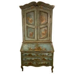 18th Century Chinoiserie Italian Two-Piece Secretary Desk Bookcase