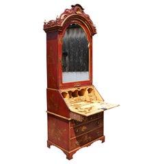 18th Century Chinoiserie Secretary Bookcase