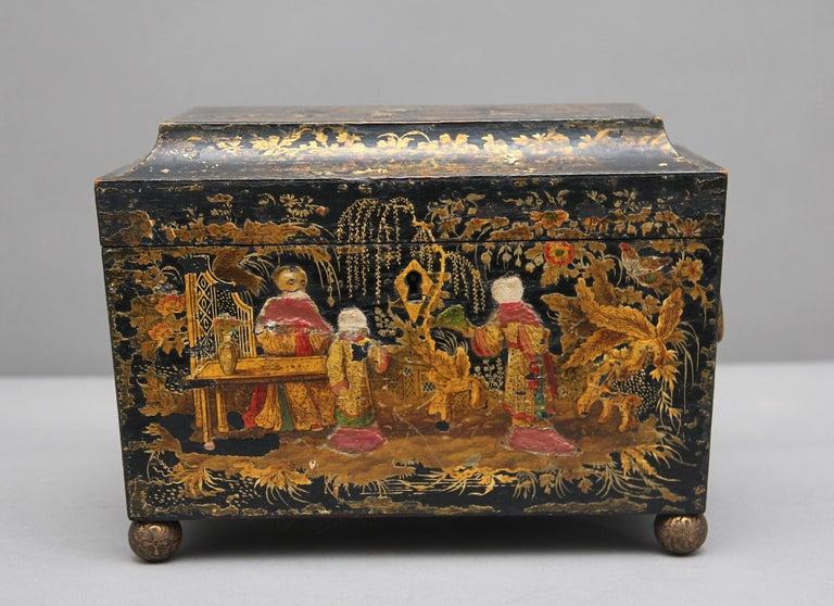 18th Century Chinoiserie Tea Caddy In Fair Condition In Martlesham, GB