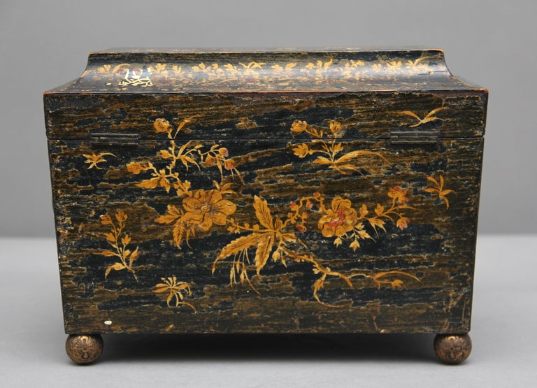 Wood 18th Century Chinoiserie Tea Caddy