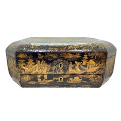 18th Century Chinoiserie Work Box with Fitted Interior, Black, Gold, Red-Lacquer