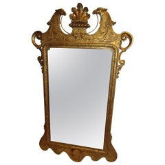 18th Century Chippendale Carved Giltwood Georgian Mirror