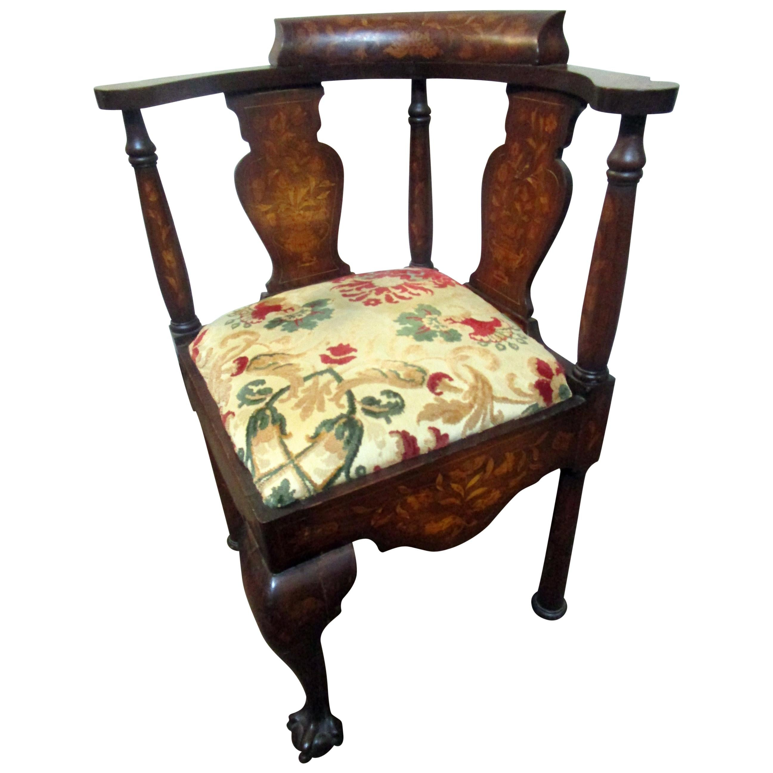 18th Century Chippendale Corner Chair with Marquetry Inlay
