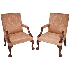 18th Century Chippendale Mahogany Gainsborough Library Armchairs