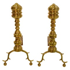 18th Century Chippendale Style Brass Andirons