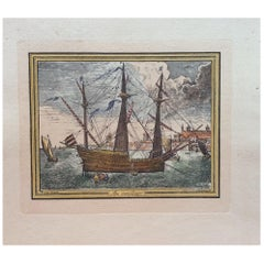 18th Century Color Engraving Print by Pieter F.H. Bruegel, Au Monillage