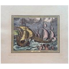18th Century Color Engraving Print by Pieter F.H. Bruegel, La Peche
