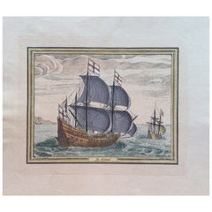 18th Century Color Engraving Print by Pieter F.H. Bruegel, Le Depart