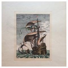 18th Century Color Engraving Print by Pieter F.H. Bruegel, Nef de Bande