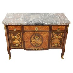 18th Century Commode Stamp Roussel in Rosewood, Amaranth and Tobacco Wood
