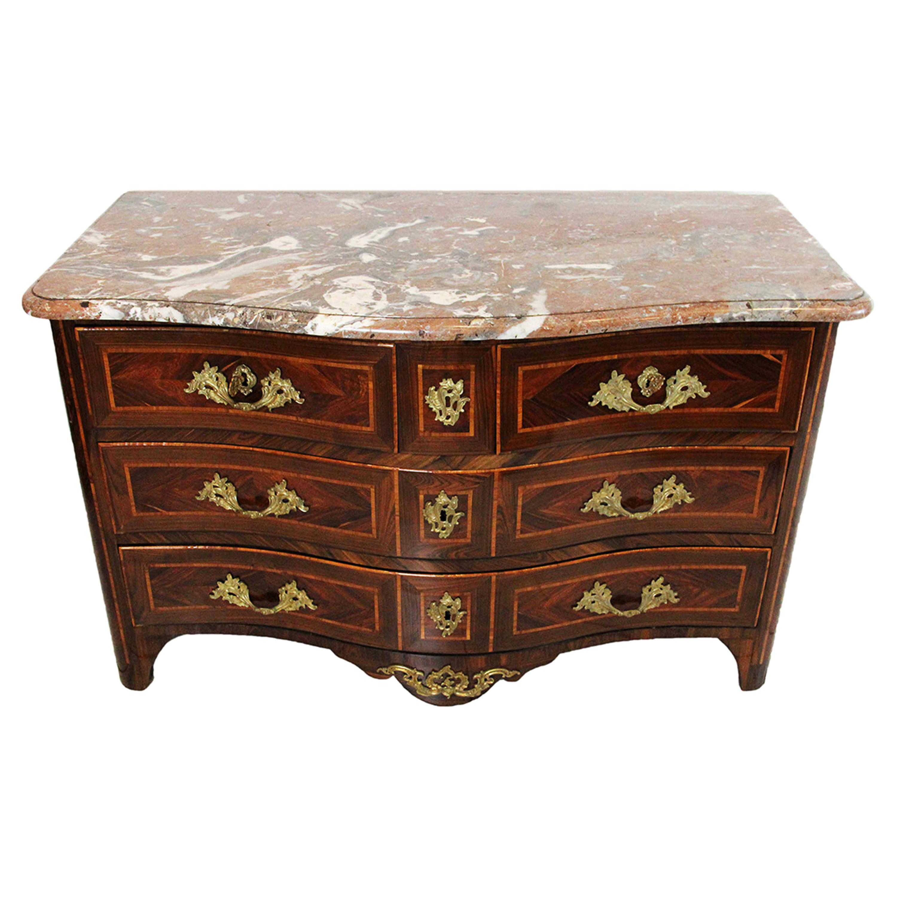 18th Century Commode Stamped Jean Charles Ellaume with Veined Marble Top