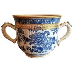 18th Century Continental 2 Handled Blue and White Mug with Gilding