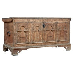 18th Century Continental Carved Oak Coffer